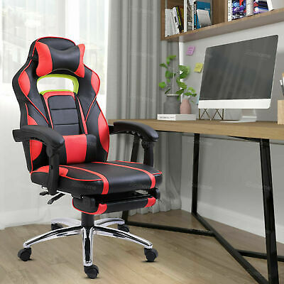 Racing Gaming Computer Chair PU Recliner Office Swivel Lift Adult Executive Seat • 26.99£