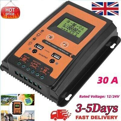 30A MTTP Dual Battery Solar Charge Controller / Regulator Voltage 12/24V • 19.99£