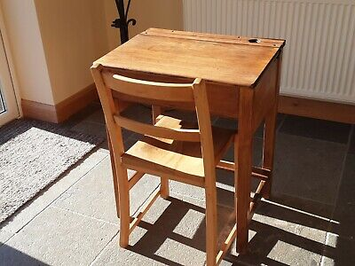 Vintage Refurbished Wooden School Desk And Chair, Collection In Person Only • 35£