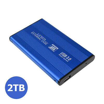 External HDD Portable Solid State Drive USB3.0 1TB 2TB Mobile Hard Drive Blue • 37.38£