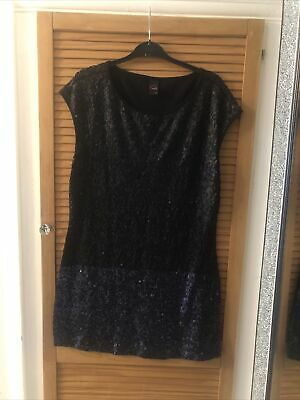 Ladies Gok Wan Sequin Two-tone Black Dress Party Size 14 • 1.99£