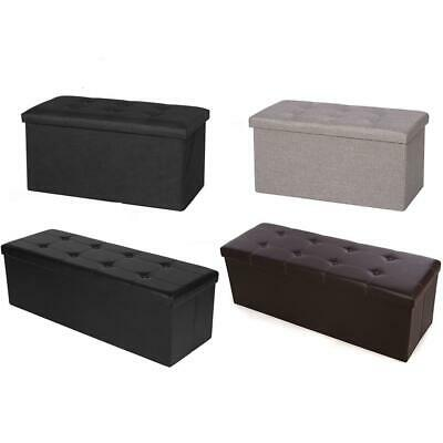 Foldable Cuboid Storage Ottoman Footrest Bench Box Seat Footstool Multiple Color • 17.33£
