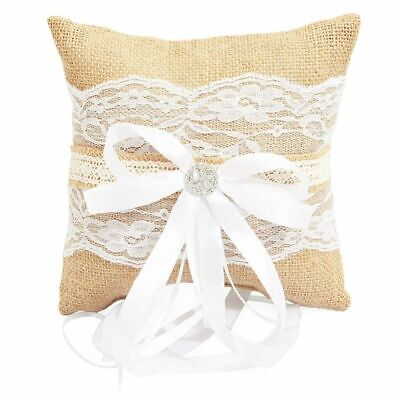 £6.46 • Buy Burlap Lace Wedding Ring Bearer Pillow Hold For Wedding Engagement Ceremonies