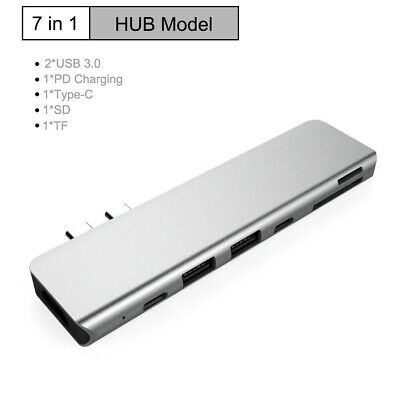 AU26.79 • Buy 2021 2X Type C Output HDMI 2X USB 3.0 Adapter SD TF CARD HUB MacBook Pro 7 In 1