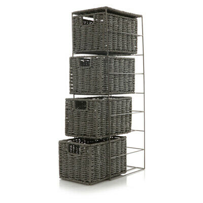 Grey 4 Drawer Woven Basket Tier Storage Cabinet Unit Bathroom Bedroom Organiser • 26.99£