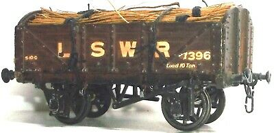 Excellent Kit Built White Metal Lswr Open Wagon With Timber Load Chain Coupling • 14.99£