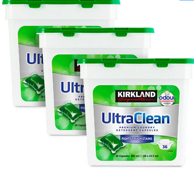 Kirkland Signature Ultra Clean Laundry Detergent Refreshing Scent 3x36 Pods. • 23.49£
