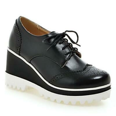 £32.32 • Buy Europe Women's Lace Ups Wing Tip 8cm Heel Oxfords Round Toe Shoes Casual 42 43 D