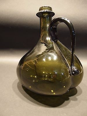 $ CDN50.82 • Buy Blown Onion Bottle With Handle Antique Vintage Style Colonial Black Green Glass