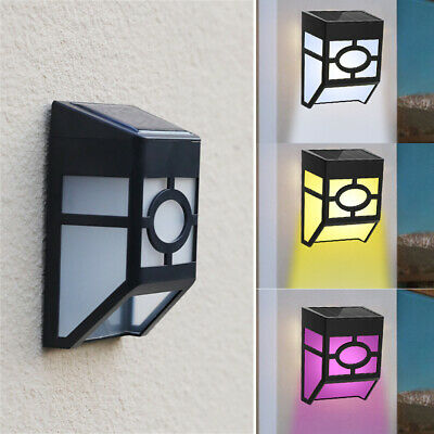 4x LED Solar Powered Wall Mount Lights Garden Path Fence Outdoor Courtyard Lamp • 7.89£