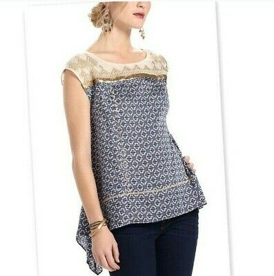 $ CDN31.54 • Buy ANTHROPOLOGIE $88 Floreat Gold Stream Sequin Embellished Mesh Top Size XS Petite