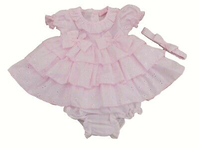 £10.99 • Buy BNWT Baby Girls Spanish Style Frilly Broderie Anglaise Summer Dress Knickers Set