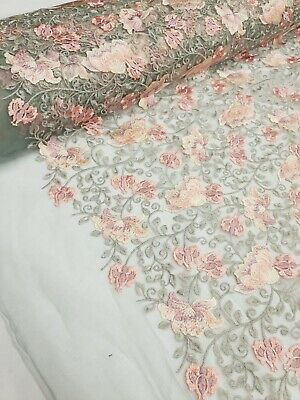 Embroidered Floral Lace Fabric, Grey Lace With Light Pink Flowers By The Meter. • 10£