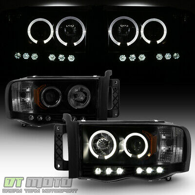$129.99 • Buy Black Smoke 2002-2005 Dodge Ram 1500 2500 3500 LED Halo Projector Headlights Set