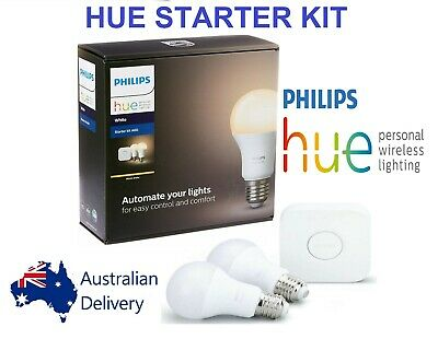 AU55 • Buy Philips Hue E27 Starter Smart Kit A60 [ 2 X Warm White Bulbs 2700K + Bridge ]