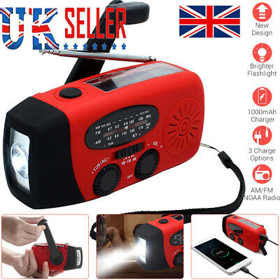 Portable Wind Up USB Rechargeable Solar Powered LED Lighting AM/FM Radio Hot • 14.99£