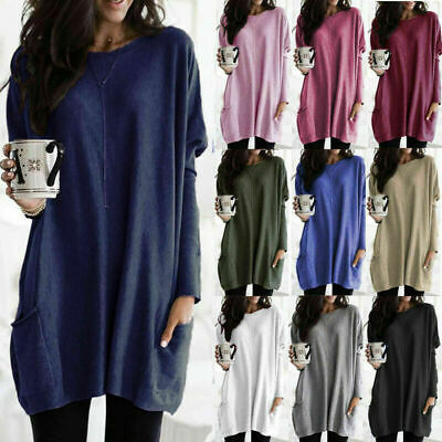 Womens Long Sleeve Casual Blouse Tops Ladies Baggy Loose Pullover Tunic T-Shirt • 8.69£