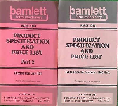 Bamlett Farm Machinery Product Specification And Price Lists X2 • 6.99£