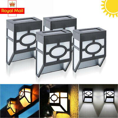 4X LED Solar Power Garden Fence Lights Wall Light Patio Outdoor Security Lamps • 5.99£