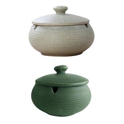 2pcs Ceramic Ashtray With Lid Windproof Desktop Ash Tray For Home Office • 20.24£