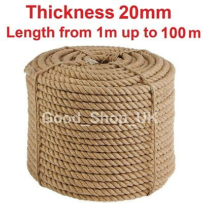 20mm Thick Natural Jute Hessian Rope • 7.13£