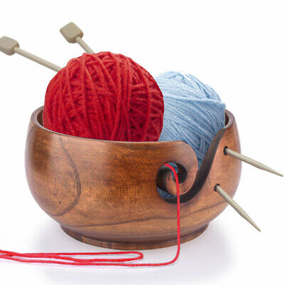 Wood Yarn Bowl 15x8cm Holder Bowls For Knitting Crochet Yarn Winder Yarns Thread • 15.12£