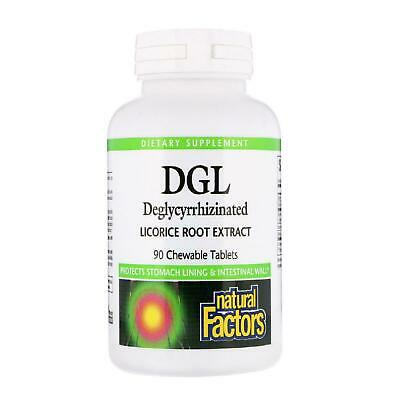 AU28.99 • Buy Natural Factors DGL Deglycyrrhizinated Licorice Root Extract 90 Chewable Tabs