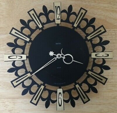 £55 • Buy Vintage Retro Smiths Metal Wall Clock Sun & Moon Made In England Battery Working