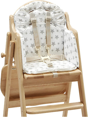 Grey Stars Nursery Highchair Soft Foam Filling Harness Holes In Backrest PVC New • 26.01£