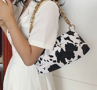 £7 • Buy Cow Print Shoulder Bag With Gold Chain