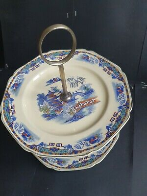 £12.99 • Buy A LOVELY CORONET WARE PARROT & COMPANY ART DECO DOUBLE CAKE STAND.Ye Olde Willow