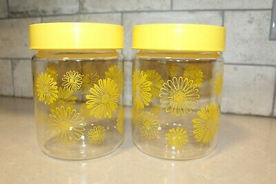 2 - CORNING Glass Vintage Daisy Canisters Yellow Snap-on Lids Stackable Jars • 14.17£