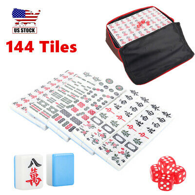 $39 • Buy 144 Tiles Chinese Mahjong Blue Set Game Travel Outdoor/ Indoor Party Time Gift