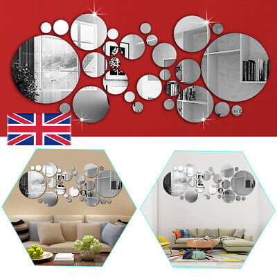 32PCS Circle Mirror Tiles Wall Sticker Art Decal Stick On Bedroom Home Art Decor • 5.78£
