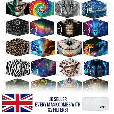 £2.99 • Buy Reusable Washable Face Mask Protect Fashion Design Nose Clip Adult UK X2 FILTERS