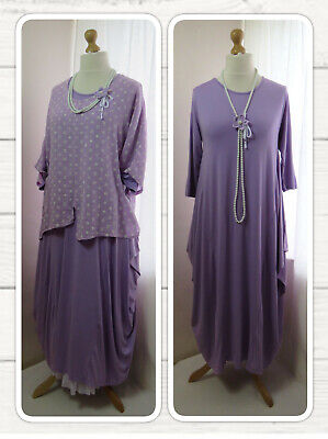 Bnwt, Quirky Lagenlook, Lilac, Jersey, Balloon Dress, Draped Sides, Osfa • 22.99£