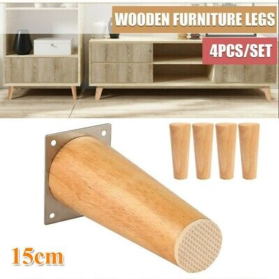 4X Wooden Furniture Legs Feet Replacement Sofa Stool Couch Cabinet Straight 15cm • 14.99£