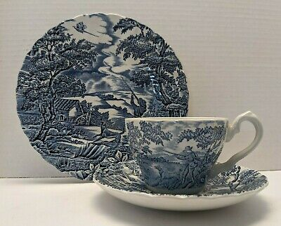 £12.03 • Buy Transferware Myott The Hunter Blue Cup Saucer Plate Place Setting England