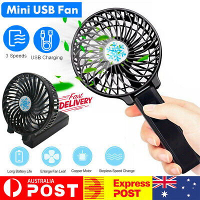 AU14.89 • Buy Mini Portable Hand-held Desk Fan Cooling Cooler USB Air Rechargeable 3 Speed AU
