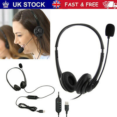 Headsets Microphone For Skype Call PC Laptop USB Wired MIC Computer Headphones • 11.99£
