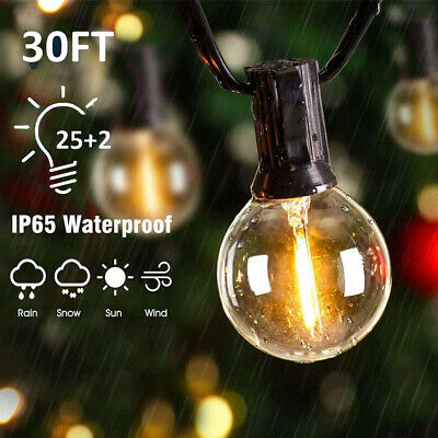 30FT Outdoor Globe String Festoon Lights Mains Powered G40 Bulbs Waterproof UK • 16.99£