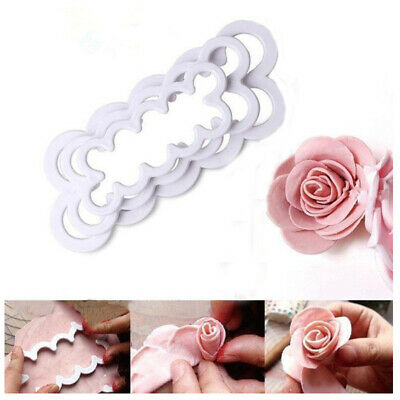 3Pcs/Set 3D Rose Petal Flower Cake Cutter Icing DIY Cute Rose Mould Kitchen Tool • 2.79£