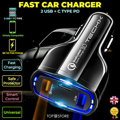 £5.49 • Buy FAST CAR CHARGER 2 USB Port +C Type For Iphone Samsung Universal Socket Adapter