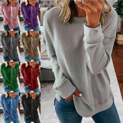 Plus Size Womens Long Sleeve Loose Tops Sweatshirt Ladies Casual T Shirt Blouse • 7.99£