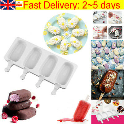 Frozen Ice Cream Pop Mold 4Cell Kitchen Popsicle Maker Lolly Cake Mould Tray Pan • 4.99£