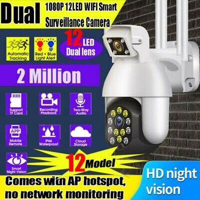 1080P HD WIFI IP Camera Wireless Outdoor CCTV HD PTZ Smart Home Security IR Cam • 46.99£
