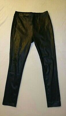 £12.99 • Buy AVON UK 14/16 High Rise Black Contrast Skinny Trousers Leather Look Jersey Type
