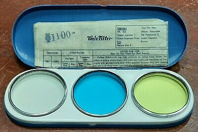 £36.36 • Buy Vintage Walz Filter Set Of 3 For Nikkor Cannon UV Clear, POB Blue, Y.1 Yellow