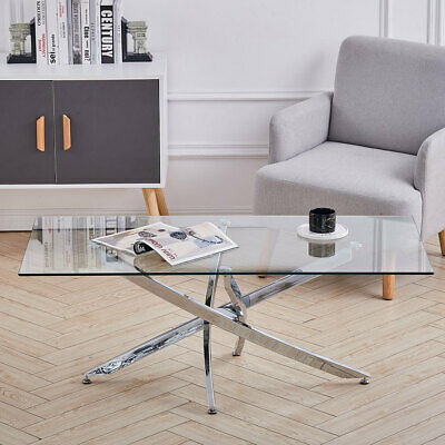 Clear Tempered Glass Coffee Table Cross Chrome Legs Modern Living Room Tea Table • 109.95£