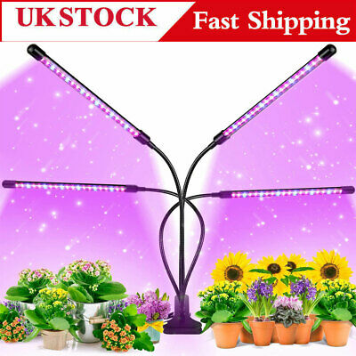 £16.99 • Buy 4 Head LED Grow Lights Growing Veg Flower For Indoor Clip Plant Lamp + Adapter